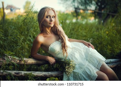 portrait of beautiful ukrainian woman at night