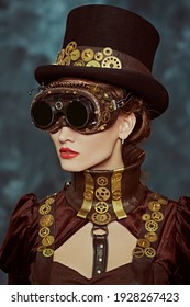 Portrait of a beautiful victorian steampunk lady in stilish glasses on a grunge background. Fantasy world, scientific inventions.