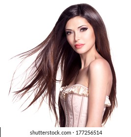 Portrait of a beautiful white pretty woman with long straight hair