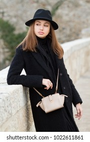 Portrait of a beautiful winter fashion brunette.