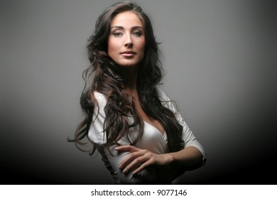 a portrait of a beautiful woman