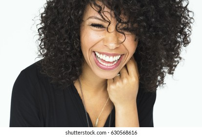 Portrait of beautiful woman with afro hairstyle