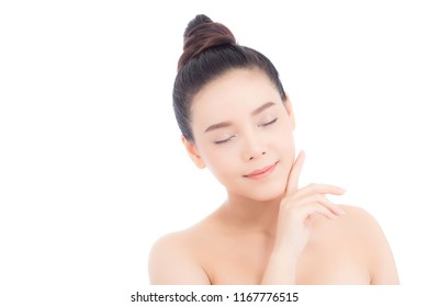 Portrait of beautiful woman asian makeup of cosmetic, girl hand touch cheek and smile attractive, face of beauty perfect with wellness isolated on white background with skin healthcare concept.