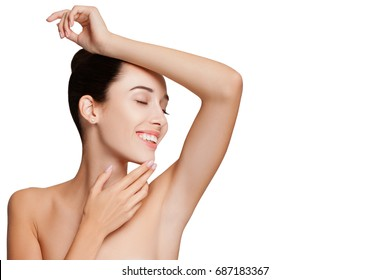 Portrait of Beautiful Woman. Attractive Girl Posing at Studio over white Background with copy space. Close-up Beauty Portrait Model  Woman smooth Armpits. Happy Caucasian Woman with smooth underarms