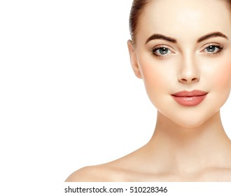 Portrait of beautiful woman beauty female model on white background
