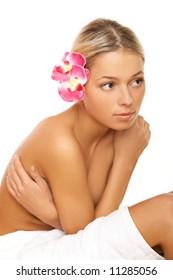 Portrait of beautiful woman before spa treatment