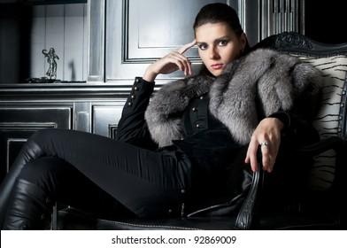 Portrait of the beautiful woman in black