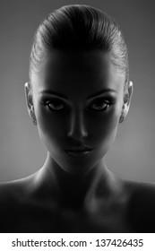Portrait Of Beautiful Woman in Black & White