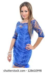 Portrait of a beautiful woman in blue dress