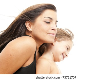 Portrait of a beautiful woman and child .