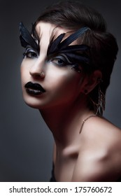 Portrait Of Beautiful Woman  with dark make-up