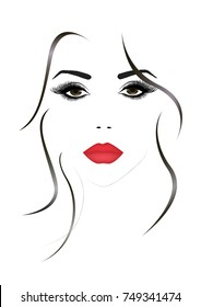 Portrait of the beautiful woman face with a red sexy lips, illustration
