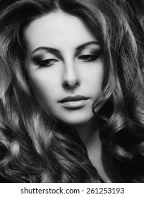 Portrait of a beautiful woman with gorgeous wavy hair