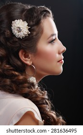 Portrait of Beautiful Woman Hair Wedding Model Over Pink Grey Background. Advertising and Commercial Design. Shopping. Jewelry - Bridal Earrings