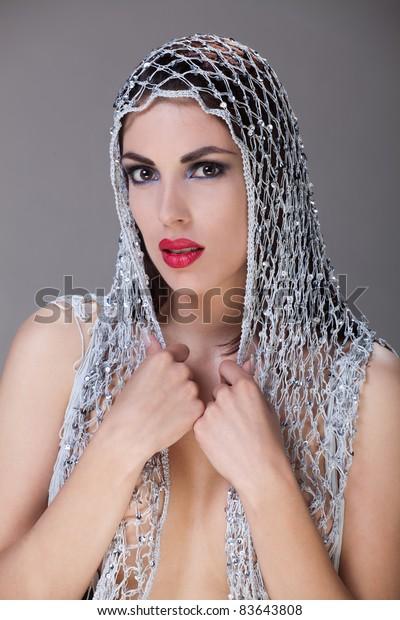 5c41adbb5136c Portrait Beautiful Woman Headscarf Bright Red Stock Photo (Edit Now ...