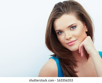 Portrait of Beautiful Woman. isolated white background. Young smiling model with long brown hair.