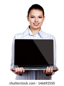 Portrait of beautiful woman with laptop ,isolated on white background