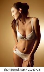 portrait a beautiful woman in lingerie