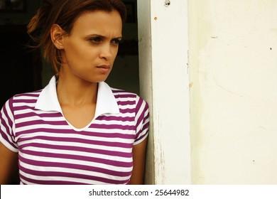 Portrait of a beautiful woman living a sad moment.