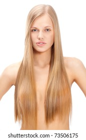 portrait of beautiful  woman with long straight blond hair over white