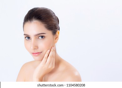 Portrait of beautiful woman makeup of cosmetic, girl hand touch cheek and smile attractive, face of beauty perfect with wellness isolated on white background with skin healthcare concept.