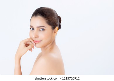 Portrait of beautiful woman makeup of cosmetic, girl hand touch month and smile attractive, face of beauty perfect with wellness isolated on white background with skin healthcare concept.