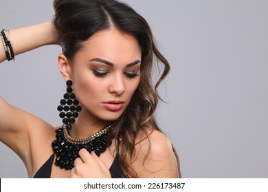Portrait of a beautiful woman with necklace