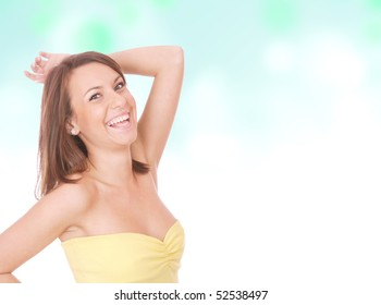 portrait of a beautiful woman on a light blue abstract background