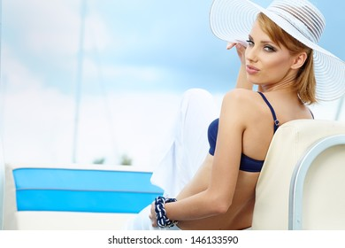 portrait of a beautiful woman on vacation