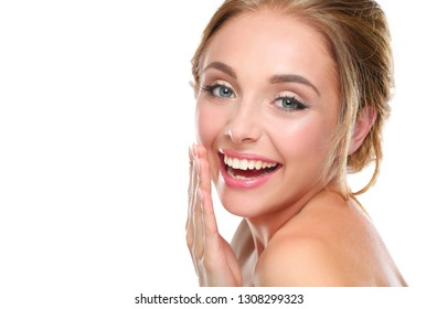 Portrait of beautiful woman on white background .
