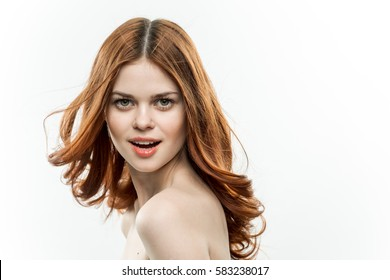 portrait of a beautiful woman on a white background
