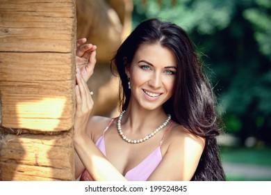 Portrait of beautiful woman outdoor