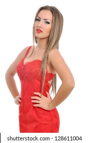 Portrait of a beautiful woman in red dress