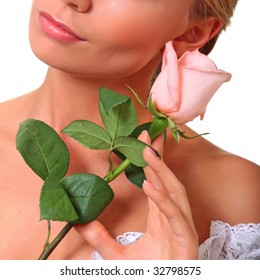 Portrait of the beautiful woman with a rose of pink color, isolated on a white background, please see some of my other parts of a body images