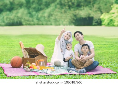 Portrait of beautiful woman showing for something while picnicking with her family in the park