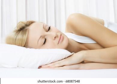Portrait of beautiful woman sleeping.