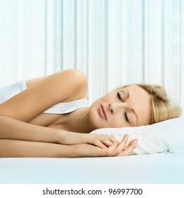 Portrait of beautiful woman sleeping .