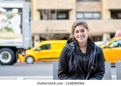 Portrait of beautiful woman smiling in New York City
