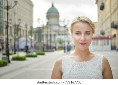 Portrait of a beautiful woman in St Pererburg city