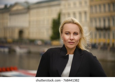 Portrait of a beautiful woman in St Peterburg city