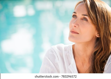 portrait of a beautiful woman in summer