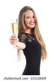 Portrait of a beautiful woman toasting with champagne isolated on a white background