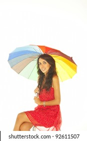Portrait of a beautiful woman with an umbrella
