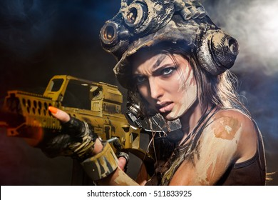 Portrait of a beautiful woman warrior with arms