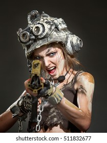 Portrait of a beautiful woman warrior in a helmet with arms