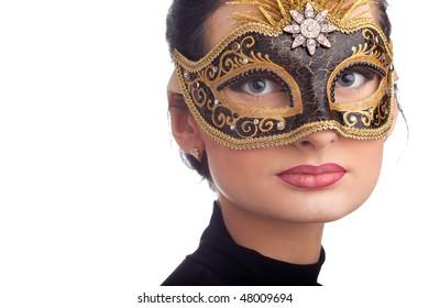 Portrait of beautiful woman wearing  carnival mask