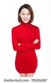 portrait of beautiful woman wearing red dress against white background.
