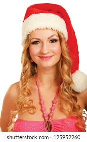 Portrait of a beautiful woman wearing a santa hat ,isolated pn white background