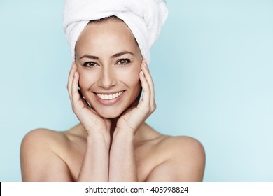 Portrait of beautiful woman wearing towel