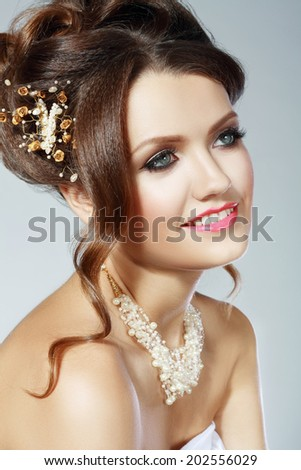 Portrait of Beautiful Woman Wedding Model. Advertising and Commercial Design. Shopping. Perfect Hairstyle and Bridal Make Up.